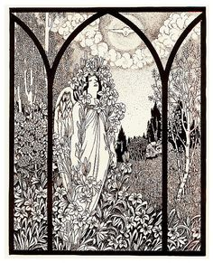 """'Angel with Lilies and Dove Descending' after Alphonse Mucha's """"Lily"""" 1898    Falsely attributed to Aubrey Beardsley  ___     This drawing is from the book of Aubrey Beardsley forgeries: """"Fifty Drawings by Aubrey"""" New York: H. S. Nichols, 1920. This is much higher quality than most of the images in the book, some are rather low quality forgeries.   books.google.com/books?"""