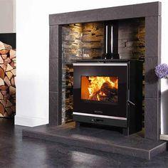 Surround and tiles Wood Burner Fireplace, Wood Burning Fireplace Inserts, Dining Room Fireplace, Modern Fireplace, Fireplace Design, Fireplace Ideas, Log Burner Living Room, Sitting Room Decor, Multi Fuel Stove