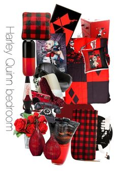 Harley Quinn themed bedroom this is my dream room by brynnashley on Polyvore featuring interior, interiors, interior design, home, home decor, interior decorating, Momeni, Andrew Martin, Dot Bo and Cuddl Duds