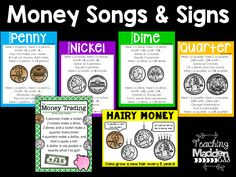 End-of-Year Gift Freebies First Grade Songs, Second Grade Math, Grade 2, Learning Money, Learning Tools, Money Songs, Homeschool Math, Homeschooling, Math Bulletin Boards