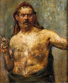 Lovis Corinth. Autoportrait au verre 1907. Huile sur toile 120 x 100 cm. Prague Narodni Galerie