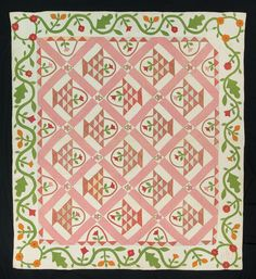 Baskets. H. M. Barker. Dated 1866 | Quilts & Fabric Art Look at the tiny basket cornerstones