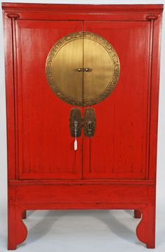 Chinese Antique Wedding Cabinet with Brass Zodiac Medallion asian dressers chests and bedroom armoires