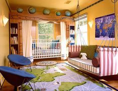 This is so over the top, but I love the idea. If I could marry the b&w elegant theme with world travel, baby's room would be perfect
