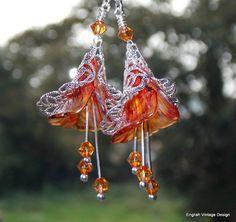 Lucite Flower Earrings, Victorian Earrings, Boho Earrings, Drop Earrings, Handmade Earrings, Yellow & Orange Flower Earrings, Vintage Style