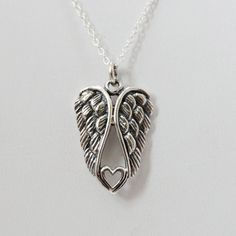 Angel Wing Heart Necklace in Sterling Silver
