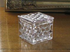FOSTORIA AMERICAN glass vanity box, cube pattern.