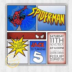 Spiderman Comic invitation MARVEL - Modern, Contemporary Kids birthday Invitation - Printable, Digital