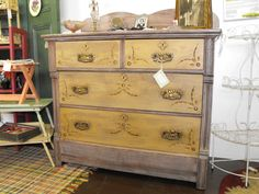 Antique dresser painted with CeCe Caldwells paint...  will make a great changing table!