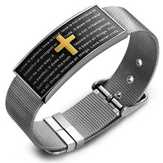 VITEROU Unisex Lord's Prayer Stainless Steel Religious Holy Bible Christian Cross Bracelet by VITEROU -- Awesome products selected by Anna Churchill