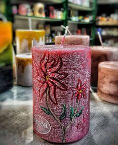 Χειροποίητο κερι ζωγραφισμένο στο χέρι.. με άρωμα Μύρο Handmade Candles, Pillar Candles, Candles
