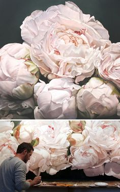Giant flower paintings by Thomas-Darnell