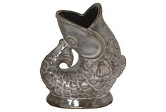 Whimsical dancing fish vase on OneKingsLane. In taupe, gray and cream glazes.
