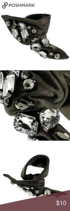 Uniquely Styled Glimmering Fabric Bracelet With Uniquely Styled Glimmering Fabric Bracelet With Sparkling Rhinestone Accents TMB226 Mi Amore Jewelry Bracelets