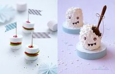 "Mini fruits and marshmallows burger and snowmen chocolat cake,""Goûters rigolos"""