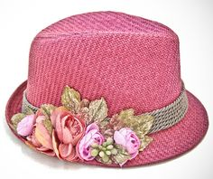 Straw pink fedora with  flower by dantiehandmade on Etsy
