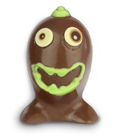 A small Easter egg with a monster face design. Made from superior quality milk chocolate. Presented in a gift bag with brown satin ribbon and Happy Easter gift tag. Easter egg measures 9.5cm tall.