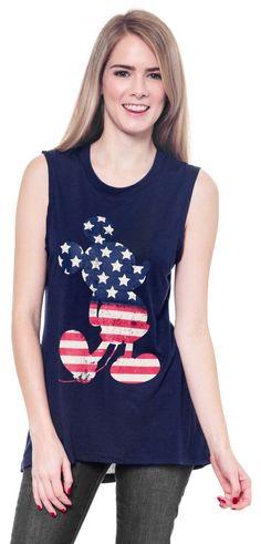 Juniors Mickey Mouse Tank Top American Flag Shirt