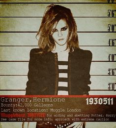 WANTED: Granger, Hermionie 42,000 Galeons.  A wizarding galleon is equivalent to a 5 pound sterling note (exchange rate subject to minor fluctuation), so Hermionie is worth  £210,000.