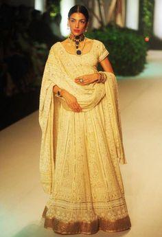 Chikankari Anarkali in Pure Georgette with Mukaish work