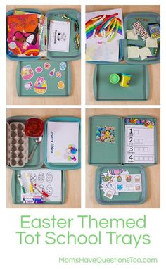 Easter Themed Tot School Trays  - by Moms Have Questions Too