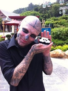 Rick Genest (born August is a Canadian artist and fashion model born in Montreal. Candy Perfume, Rick Genest, Cover Tattoo, Canadian Artists, Halloween Face Makeup, Mens Sunglasses, Cute, God, Style