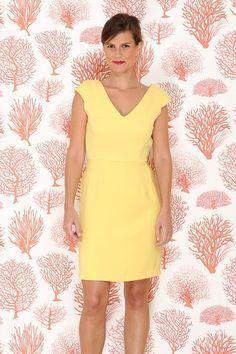 robe droite jaune demoiselle d'honneur invitée mariage personnalisable semi mesure dos nu Atelier Charlotte Auzou