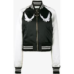 Off-White Bird Embroidered Bomber Jacket (50,050 THB) ❤ liked on Polyvore featuring outerwear, jackets, black, embroidered bomber jacket, bomber style jacket, off white jacket, embroidered jacket and flight jacket