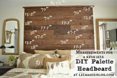 DIY palette headboard- gives exact measurements for a king size & tells you how to go about figuring out measurements for other sizes as well. White wash this and layer it behind the plush headboard for a truly unique look. Reclaimed Wood Headboard, Reclaimed Wood Projects, Diy Pallet Projects, Home Projects, Pallet Wood, Pallet Art, Wood Pallets, Barn Wood, Diy King Headboard