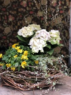 Hand built grapevine basket with hydrangea, cool wave pansy & variegated ivy Pansies, Container Gardening, Grape Vines, Hydrangea, Ivy, Floral Wreath, Basket, Wreaths, Doors