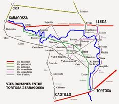 Roman ways between Tortosa and Saragossa.