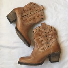 ✨HP!!!✨Dingo Woman's Cowboy Boots These are in great condition! Haven't even been broken in. Super cute tan color with eyelet pattern! Will consider offers Dingo Shoes Ankle Boots & Booties