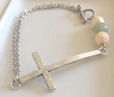 Antique Silver Sideways Cross Bracelet .. beaded cross bracelet, double strand bracelet, cross bracelet, silver bracelet. £10.00, via Etsy.