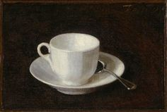 White Cup And Saucer : Henri Fantin Latour : Realism : still life - Oil Painting Reproductions Henri Fantin Latour, William Nicholson, Coffee Cup Art, White Cups, Painting Still Life, Art Uk, Cup And Saucer, Find Art, Giclee Print