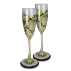 Golden Hill Studio Holiday Vine Champagne 5.75 oz. Glass Flute Golden Anniversary Gifts, Wedding Anniversary, Golden Hill, Christmas China, Types Of Insulation, Elegant Table, Fine Wine, Beautiful Hands, Flute