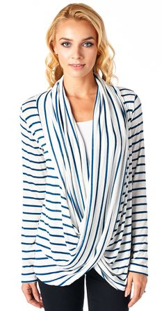 February fix: Cute top for anyone but great wrap style drapey top for a new Mom who is nursing as you'd wear your own tank underneath! Nursing Wear, Nursing Tops, Nursing Clothes, Maternity Wear, Maternity Fashion, Friend Outfits, Striped Cardigan, Mom Style, Cute Outfits