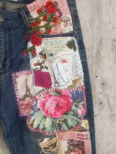 Hand made Patched Denim embowered slime Jeans / Reworked patched painted Vintage Jeans boyfriend jeans clothing Vintage Jeans, Vintage Outfits, Redone Jeans, Patched Jeans, Denim Jeans, 80s Outfit, Clothing Patches, Denim Art, Denim And Lace