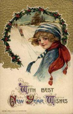 vintage happy new year postcard | Schmucker-New-Year-Vintage-Postcard