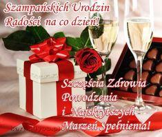 Szczęścia Zdrowia Powodzenia i Marzeń Spełnienia! Gift Wrapping, Table Decorations, Tableware, Postcards, Humor, Birthday, Image, Gifts, Balcony