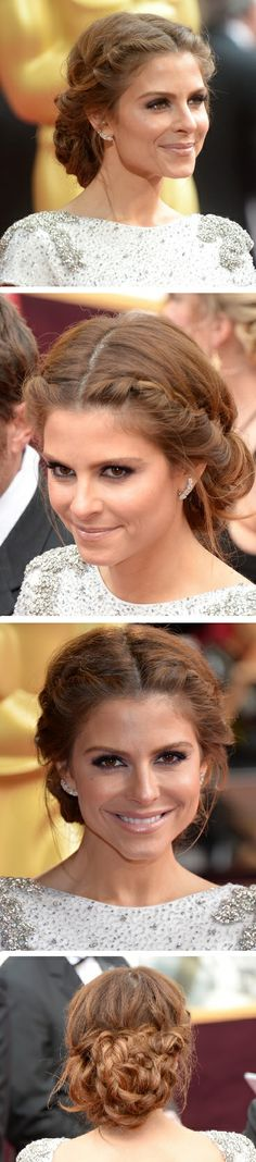 Maria Menounos' double-braided updo with wispy flyaways.