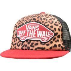 Vans Girls Beach Leopard & Red Trucker Hat