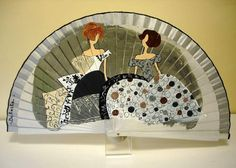 DuO DE MENINAS EN TONOS GRISES Hand Held Fan, Hand Fan, Painted Fan, Hand Painted, Fans, Umbrellas Parasols, Kids Rugs, Ornaments, Flamenco Dresses