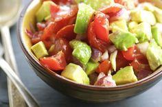 A simple chunky salad seasoned with olive oil and vinegar.