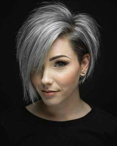 Bob grey white hairstyle