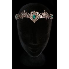 Elven Medieval Crown Headdress Tiara Circlet Nymph Dryad Green Emerald... ($107) ❤ liked on Polyvore featuring accessories, hair accessories, bride tiara, bridal tiaras, crown tiara, tiara crown and bridal hair accessories