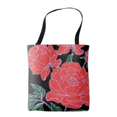 Red Peonies Tote Bag - red gifts color style cyo diy personalize unique