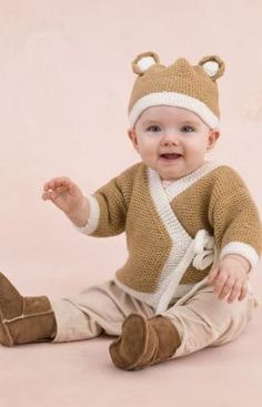 Knit this versatile wrap baby sweater and top it off with a picture-perfect teddy bear hat. This easy knit combo is ideal for baby boys or girls and the sweater can be adjusted a bit to allow for baby's growth.