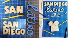 Poster Design for the Annual Competition of Media Arts.San Diego Latino Film FestivalI like to work whit my hands, so i made this color full typography poster whit clay and paint. Latino Film Festival, Film Festival Poster, Typography Poster, San Diego, Behance, Crafts, Painting, Design, Manualidades