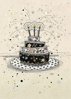 Birthday Cake - Bug Art greeting card
