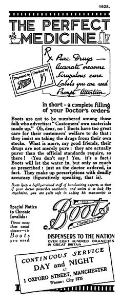 1928. Special Notice to Chronic Invalids: Throw away those carpet slippers - ....   A Greater Manchester advert
